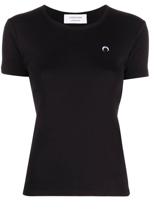 Marine Serre logo-embroidered organic cotton t-shirt in black