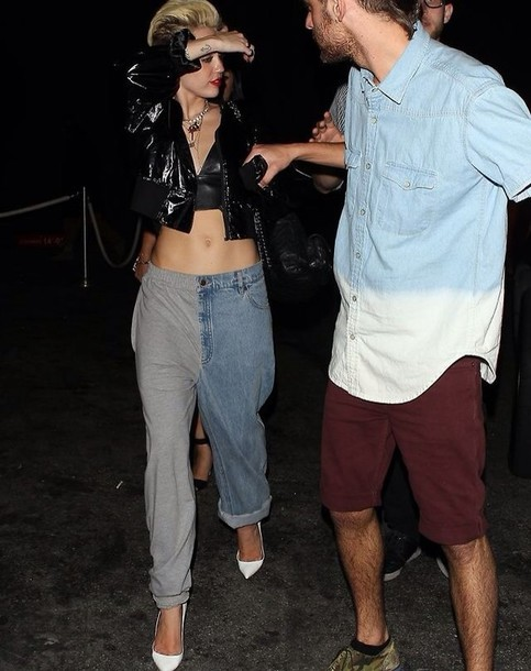 pants half jeans half sweatpants miley cyrus miley ray cyrus boyfriend jeans half cut sweatpants grey sweatpants grey jeans denim loose loose pants beautiful girly grunge singer beuty red lipstick style shoes jacket