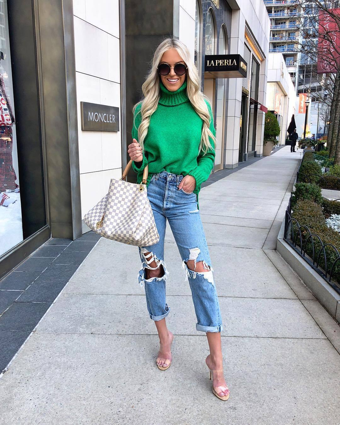 sweater turtleneck sweater green sweater sandals mom jeans high waisted jeans ripped jeans shoulder bag sunglasses