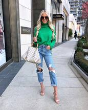 sweater,turtleneck sweater,green sweater,sandals,mom jeans,high waisted jeans,ripped jeans,shoulder bag,sunglasses
