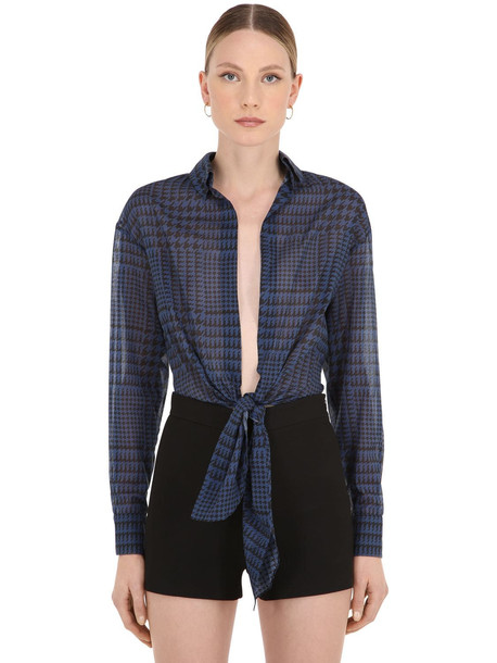 ALEXANDRE VAUTHIER Stretch Cotton Cropped Shirt in blue