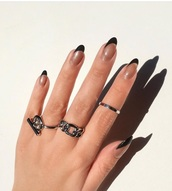 nail accessories,chain ring,silver ring