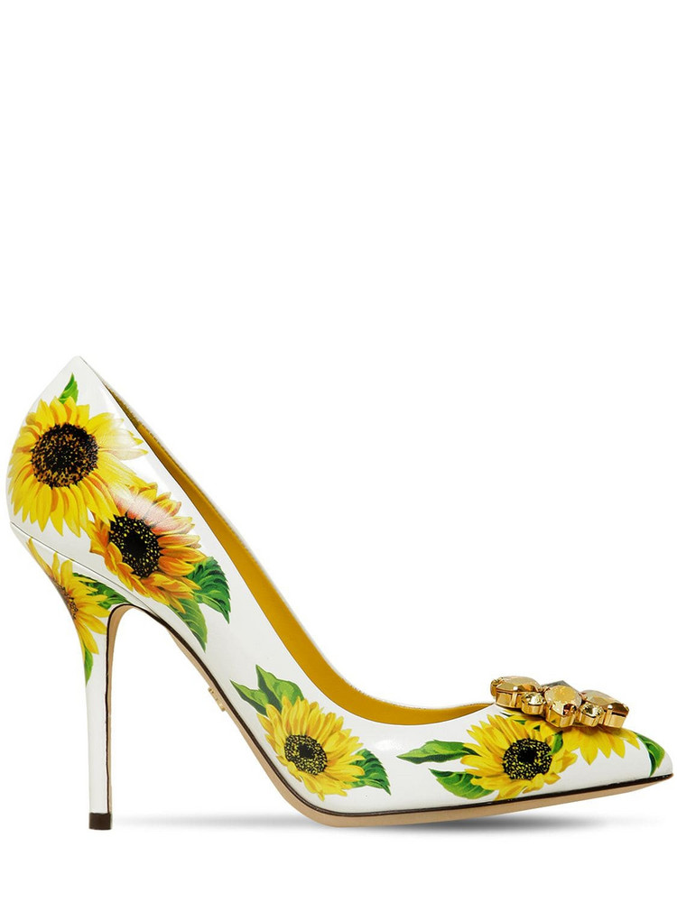 DOLCE & GABBANA 90mm Embellished Sunflower Leather Pumps in white / yellow
