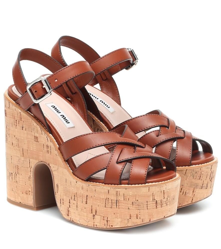 Miu Miu Platform leather and cork sandals in brown