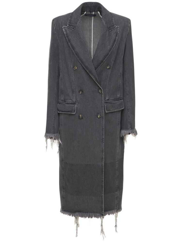 SPORTMAX Cotton Denim Double Breast Coat in grey