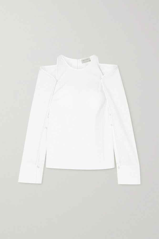 ZEUS + DIONE ZEUS + DIONE - Tirky Convertible Cold-shoulder Cotton-blend Poplin Top - White