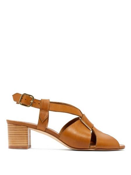 A.P.C. A.p.c. - Jessica Leather Slingback Sandals - Womens - Tan