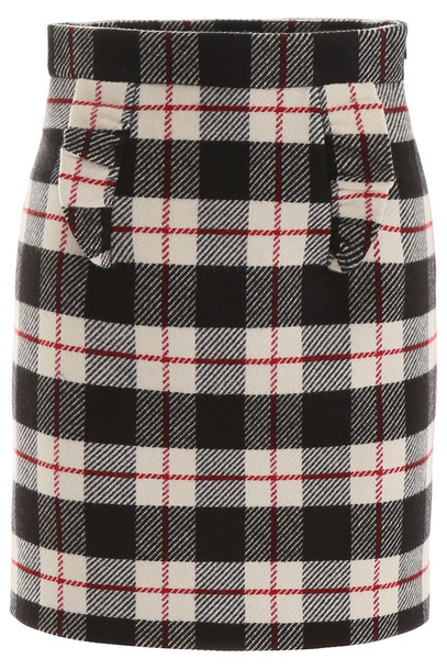 Miu Miu Tartan Mini Skirt in nero / beige