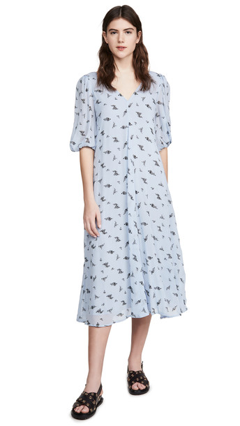 GANNI Printed Georgette Dress in blue