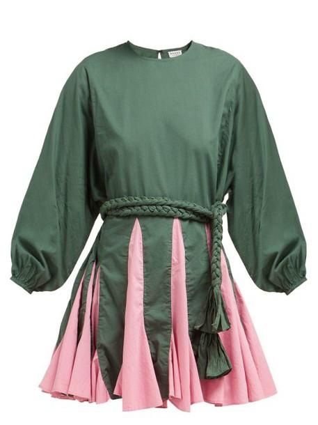 Rhode Resort - Ella Godet Skirt Cotton Dress - Womens - Green Multi