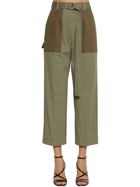 MSGM Straight Patched Gabardine Crop Pants in green