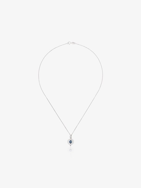 Luis Miguel Howard reverso mini rounded pendant sapphire 18K white gold necklace