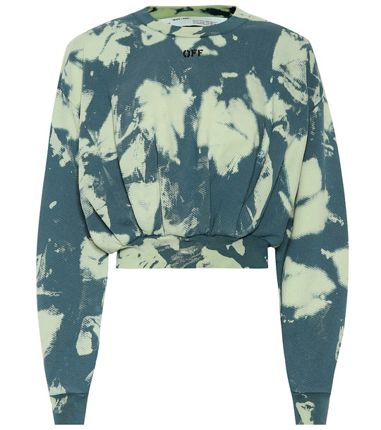 Off-White Tie-dye printed cotton sweater in blue