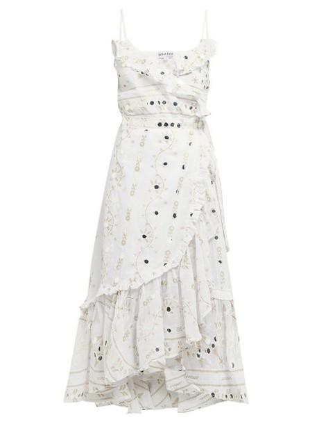 Juliet Dunn - Mirror Embroidered Ruffle Cotton Midi Dress - Womens - White