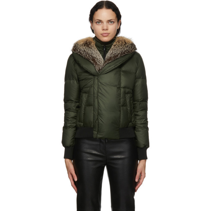 Mr and Mrs Italy Green Down Puffer Jacket in natural