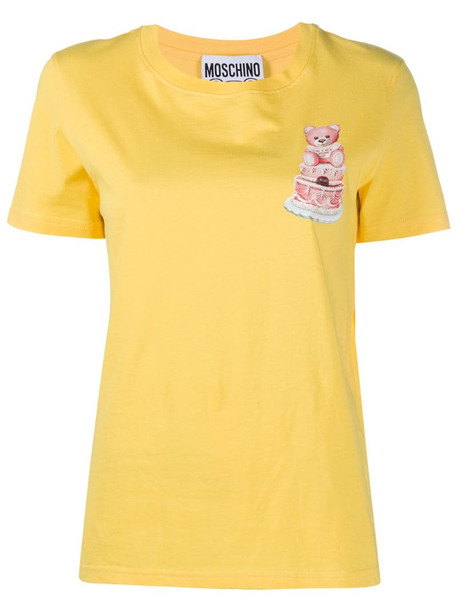 Moschino Teddy Cake print T-shirt in yellow