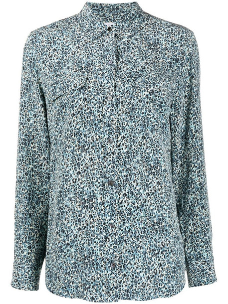 Equipment abstract-print long sleeved shirt in blue