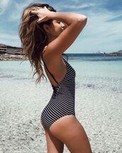 swimwear,one piece swimsuit,striped swimwear,black and white