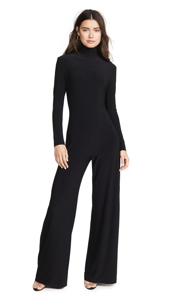 Norma Kamali Long Sleeve Turtleneck Jumpsuit in black