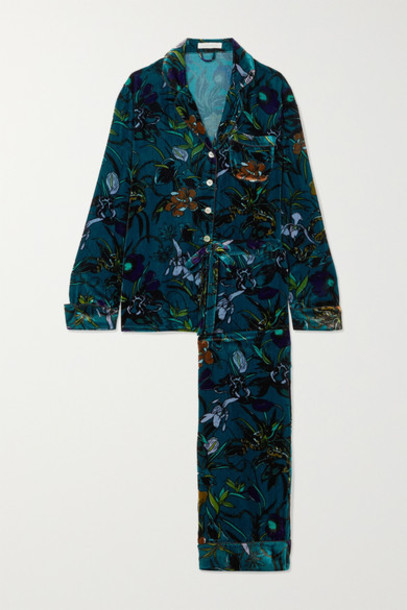Olivia von Halle - Lila Floral-print Silk-velvet Pajama Set - Blue