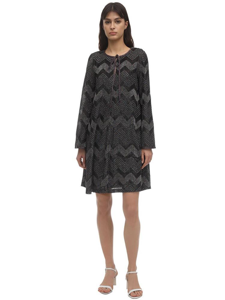 M MISSONI Zig Zag Lurex Knit Mini Dress in black