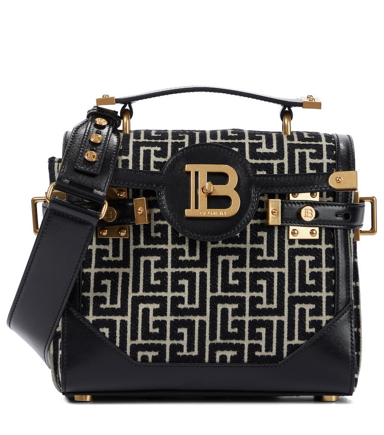 Balmain B-Buzz 23 Small jacquard shoulder bag in black