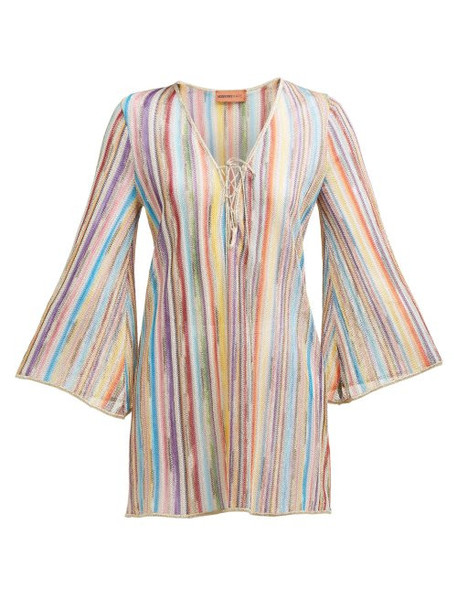 Missoni Mare - Striped Lace Up Knitted Mesh Dress - Womens - Multi