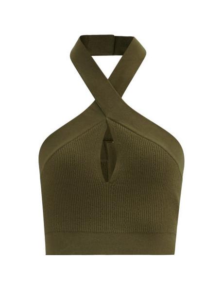 Balmain - Twisted-halterneck Stretch-knit Cropped Top - Womens - Khaki