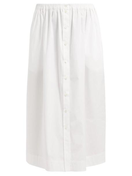 Carolina Herrera - High Waist Buttoned Cotton Midi Skirt - Womens - White