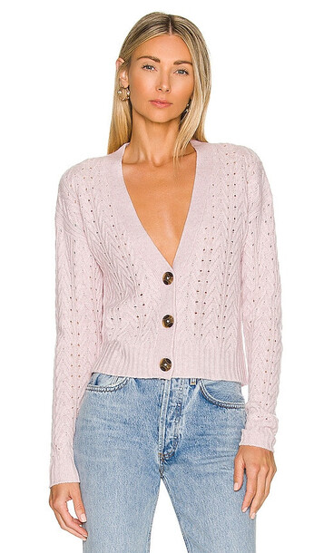 Autumn Cashmere Cropped Cable V Neck Cardigan in Lavender in pink