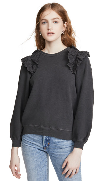 THE GREAT. THE GREAT. The Eyelet Sweatshirt in black