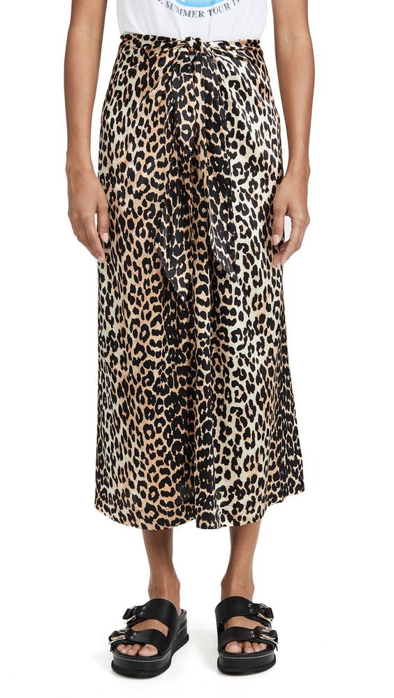 GANNI Stretch Satin Skirt in leopard
