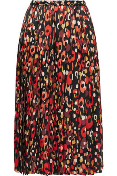 Junya Watanabe - Pleated Printed Silk-satin Midi Skirt - Black