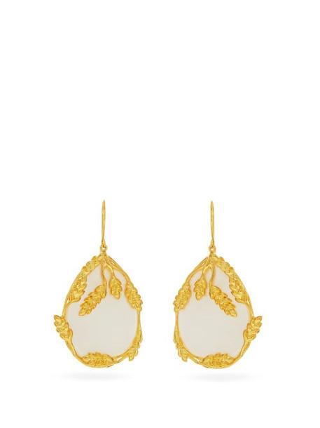 Aurélie Bidermann - Françoise Gold-plated Mother-of-pearl Earrings - Womens - White Gold