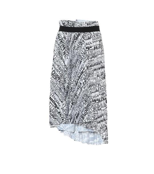 Balenciaga Pleated asymmetric midi skirt in white