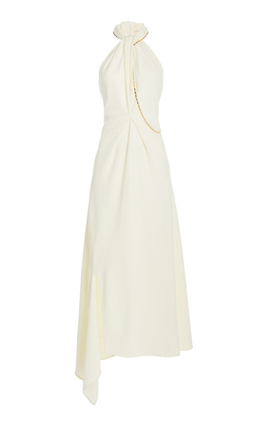 Victoria Beckham Halter Neck Midi Dress in white