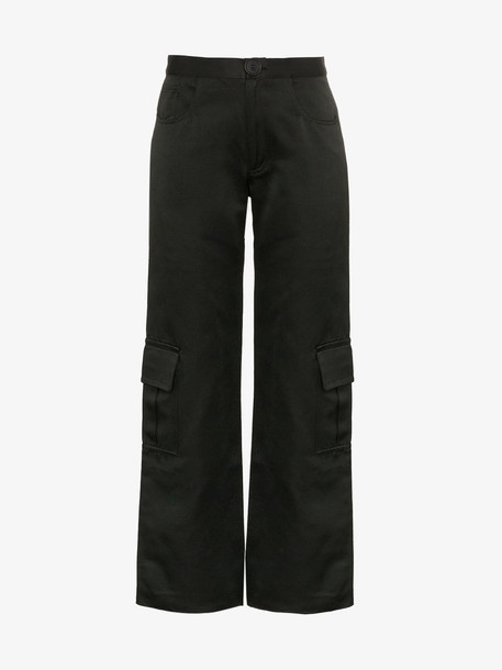Wales Bonner high waisted wide-leg cargo trousers in black