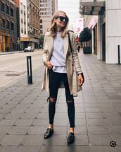 coat,trench coat,black loafers,mules,black skinny jeans,black ripped jeans,sweater,white t-shirt,black bag