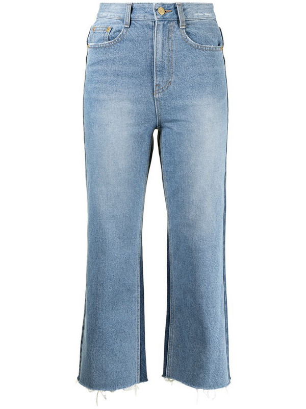 SJYP two-tone denim trousers in blue