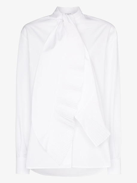 Givenchy scarf neck cotton poplin blouse in white