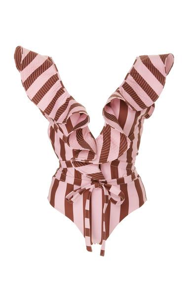 Johanna Ortiz Bahia Solano Striped One Piece Swimsuit Size: S