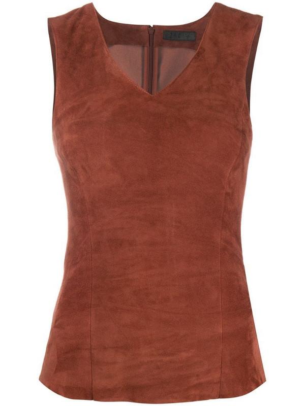 Drome leather tank top in brown