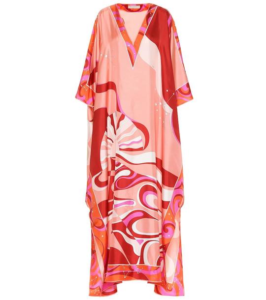 Emilio Pucci Printed silk-twill maxi kaftan in pink
