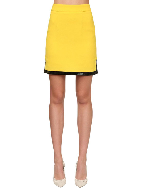 ROWEN ROSE Wool Crepe Mini Skirt W/ Vinyl in yellow