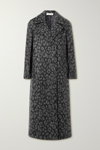 VALENTINO - Leopard-print Woven Coat - Gray