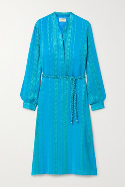 ZeusDione - Hera Belted Silk-blend Jacquard Midi Dress - Bright blue