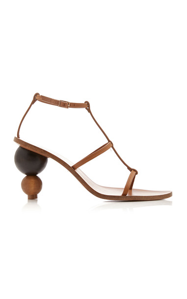 Cult Gaia Eden Leather Sandals in brown