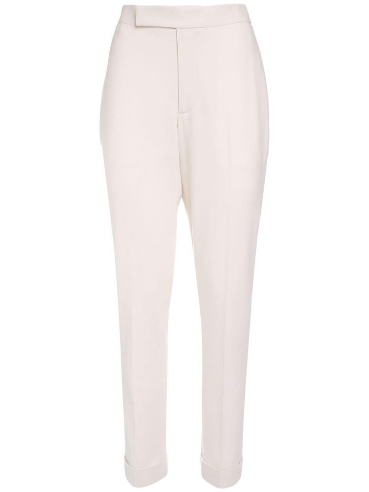 RALPH LAUREN COLLECTION Wool Crepe Straight Leg Pants in white