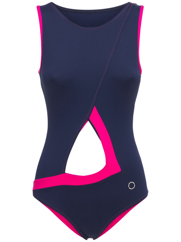 ALESSANDRO DI MARCO One Piece Cut Out Swimsuit in blue / pink