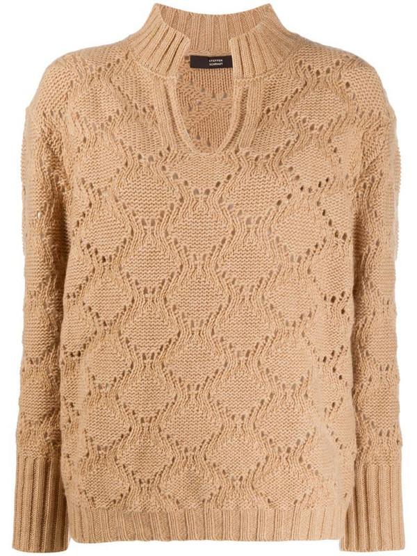 Steffen Schraut V-neck perforated knit jumper in neutrals